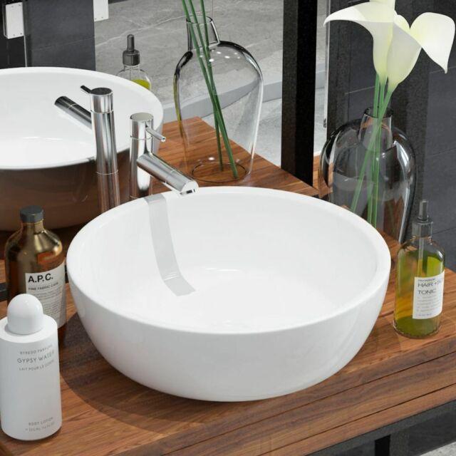 vidaXL Lavabo Ronde Céramique Blanc 42x12 cm Vasque à Poser Salle de Bain