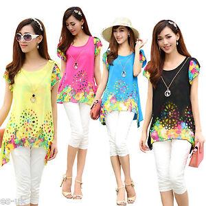 Women-039-s-Chiffon-Floral-Top-Blouse-Die-Cut-Irregular-Edge-Cap-Sleeve