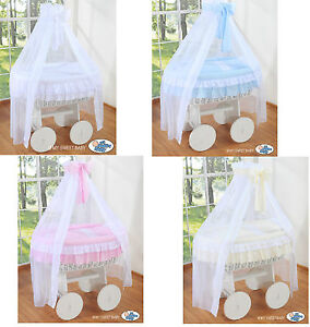 New Design White Wicker Crib Moses Basket With Drape Mattress And
