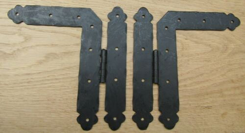 Pair of H L HINGE HAND FORGED blacksmith door old English cottage style