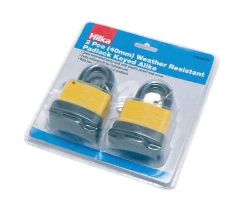 2pc weather resistant 40mm  padlocks pad lock same 4 keys security keyed alike