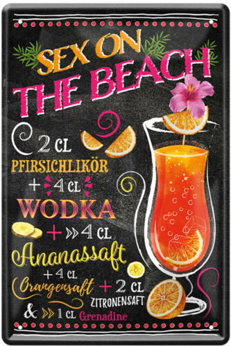 Cocktail Blechschild 20x30cm Deko Mixgetränke Bar Rezepte Cocktailrezepte