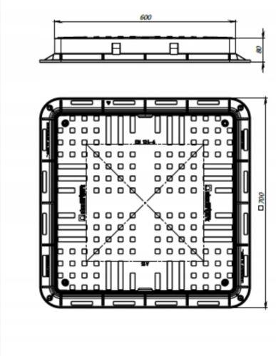 Brunnendeckel 700mmx700mm Kanaldeckel Gullydeckel Kontrollschacht Abdeckung