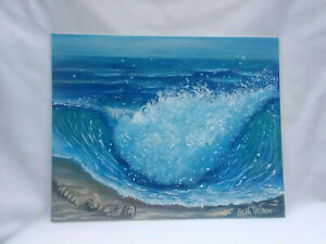 Original-Acrylic-Painting-8-x-10-Canvas-Board-Rolling-Wave-Coastal-Ocean-Art