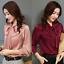 Womens-Satin-Silk-Button-Down-Blouse-Top-Bow-Tie-Neck-Shirt-Long-Sleeve-Zhou8 thumbnail 5