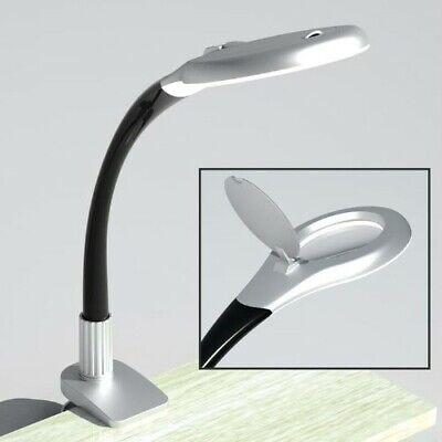 Beleuchtete Lupe Clip-on Tischplatte Schreibtisch LED Lampe Leseglas mit Cl  /&