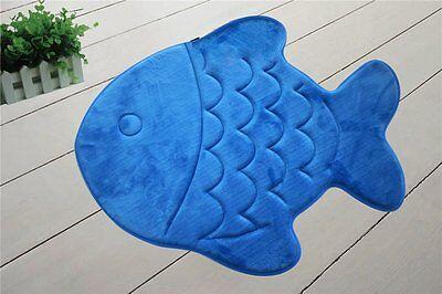 "Very Soft & Absorbent Memory Foam Bath Mat 22""x27"" kids Blue Fish bathroom rug"