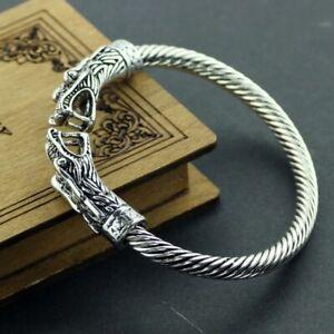 Mens-Viking-Dragon-Norse-Armband-Steel-Sacred-Arm-Ring-Bracelet-Ragnar-Lothbrok