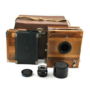 AS-IS-FKD-13x18cm-Large-Format-Wooden-Camera-w-Lens-amp-2x-Cassettes