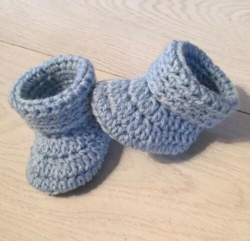 Handmade Crocheted//Knitted Baby Boy Cuffed Booties In Soft Baby Blue 0-3 Months