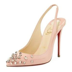49feba35c40 Details about Christian Louboutin DRAMA SLING 100 Spiked Patent Sandals  Heels Shoes Pink $945