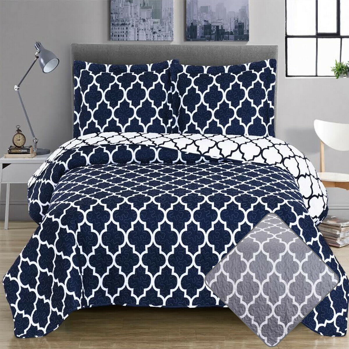 Meridian 3 Piece Quilt Set with Shams Reversible Geometric Bedspread Coverlets