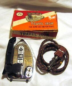 Vintage-Apex-Fold-Up-Travel-Iron-Original-Box-Japan