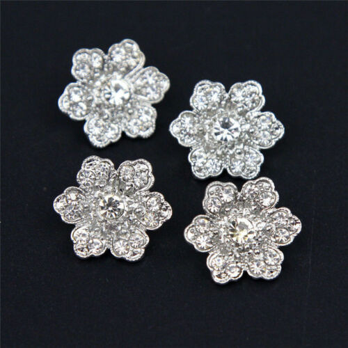 6Pcs Buttons Clear Rhinestone Crystal Gold Tone Cute Flower Alloy Buttons 19mm