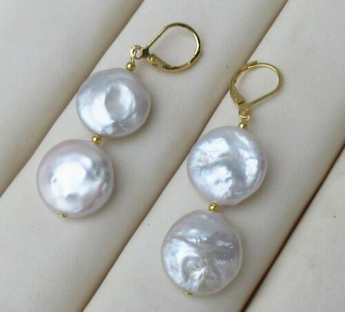 Or 14K paire de 17-18 mm South Sea AAA blanc pièce perle dangle baroque earring