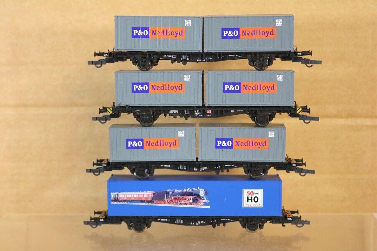 Fleischmann 82 5325 K Rateau de 4 Db P &o Nedlloyd & 50 Ans conteneur Wagon Nr