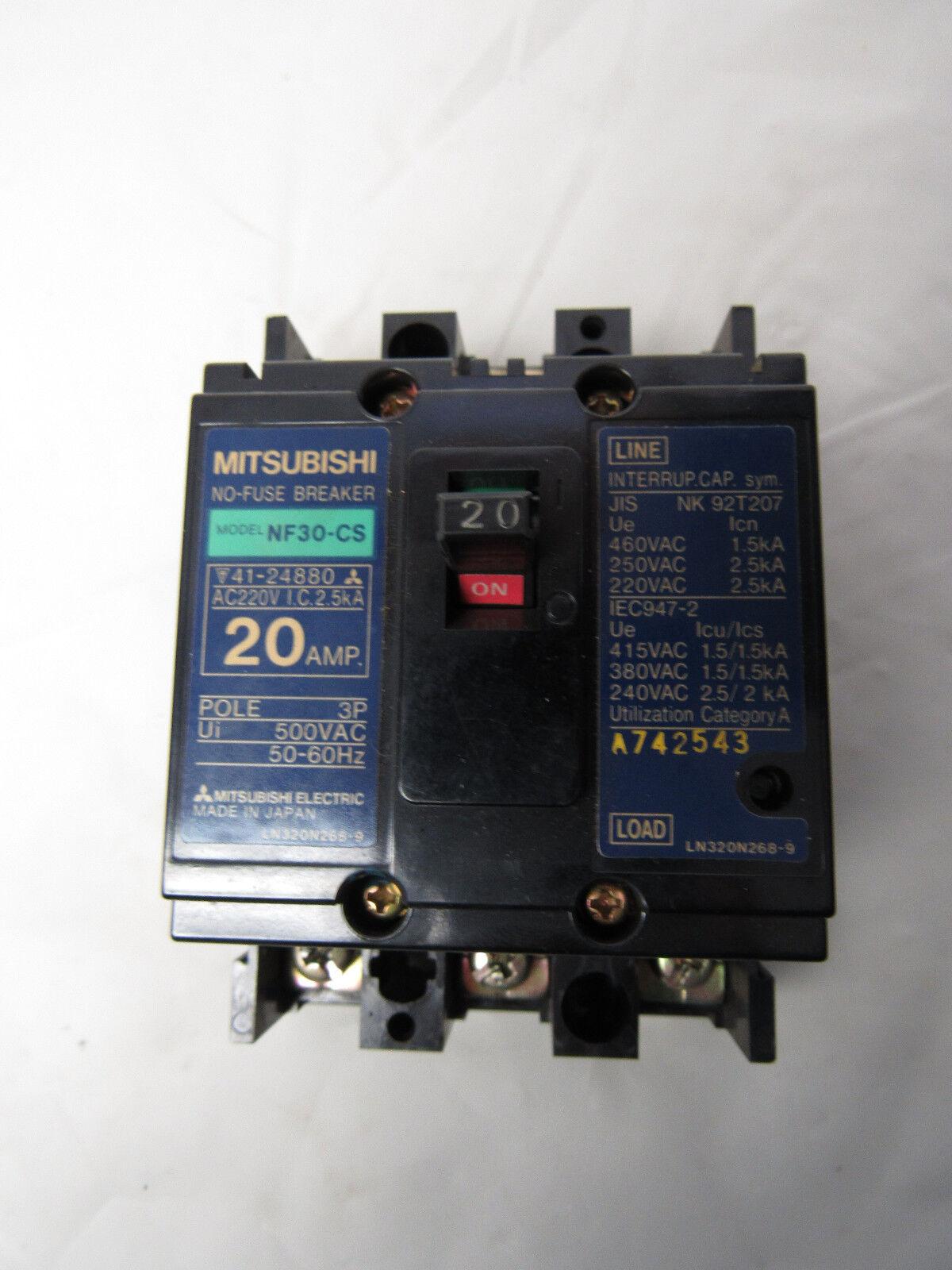 Mitsubishi Nf30 Cs 2p 20a 220v No Fuse Circuit Breaker Ebay Breakers Load Centers Fuses Miniature