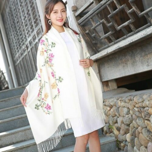 Lady Embroidered Floral Shawl Wraps Scarf Pashmina Imitated Cashmere Tassel Chic