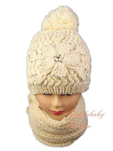 Women Ladies Knitted Woollen Pom Pom Bobble Beanie Hat and Scarf Set Warm Flower