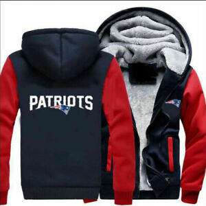 New-England-Patriots-Fans-Men-039-s-Thicken-Hoodie-Winter-Warm-Coat-Jacket