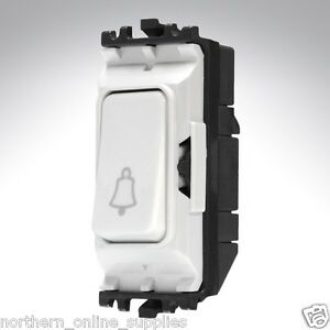 MK-K4885B-WHI-Grid-Switch-2-Way-Single-Pole-Engraved-Bell-Symbol-Push-10A