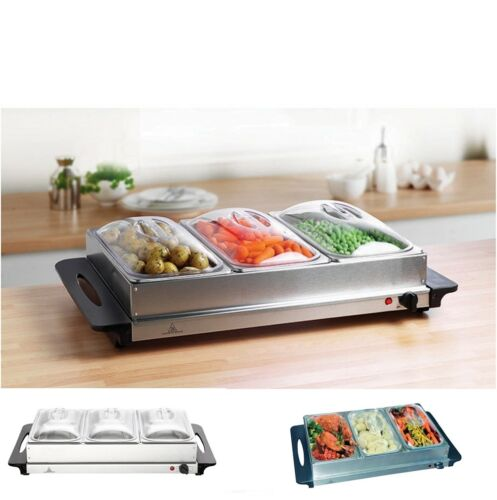 Buffet Server and Warming Tray Food Warmer Trays Hot Plate 3-Pan Stainless Steel