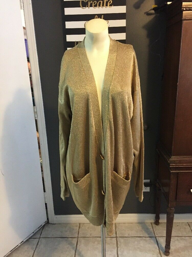 TD women Karan- gold Metallic Knit Long  Cardigan Sz M Ornate Buttons Oversized