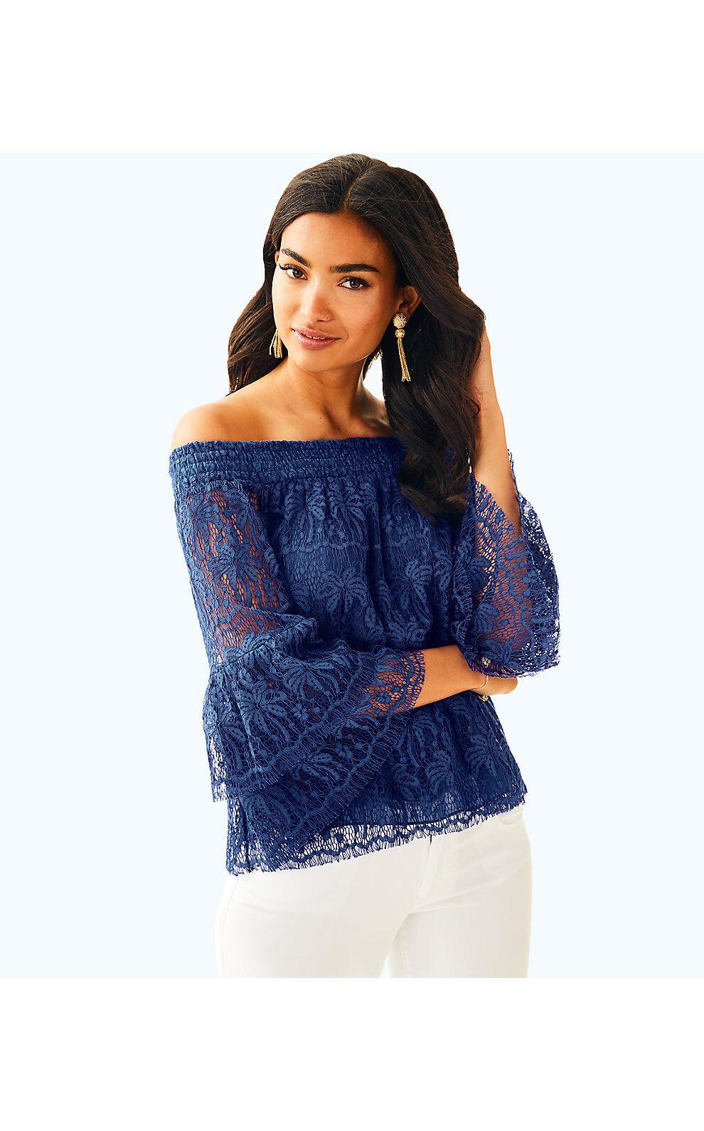 Lilly Pulitzer Ikat Blau Palm Tree Lace Tobyn Cold Shoulder Top XS L New