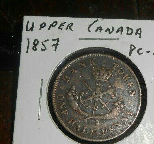 UPPER CANADA BANK TOKEN 1857 1/2 PENNY