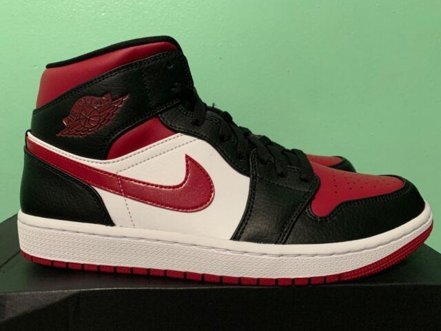 Nike Air Jordan 1 Mid Bred Toe Noble Red Black White Sz 4Y 13 554724 066