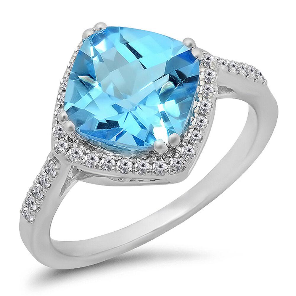 14K White gold Cushion bluee Topaz & Diamond Bridal Halo Engagement Ring Size 8
