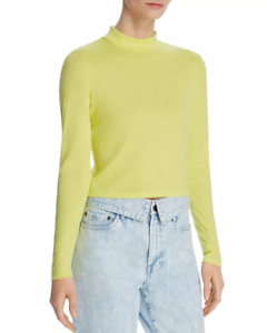 New-249-Bardot-Women-039-S-Yellow-Ribbed-Mock-Neck-Long-Sleeve-Crop-Top-Blouse-6-S