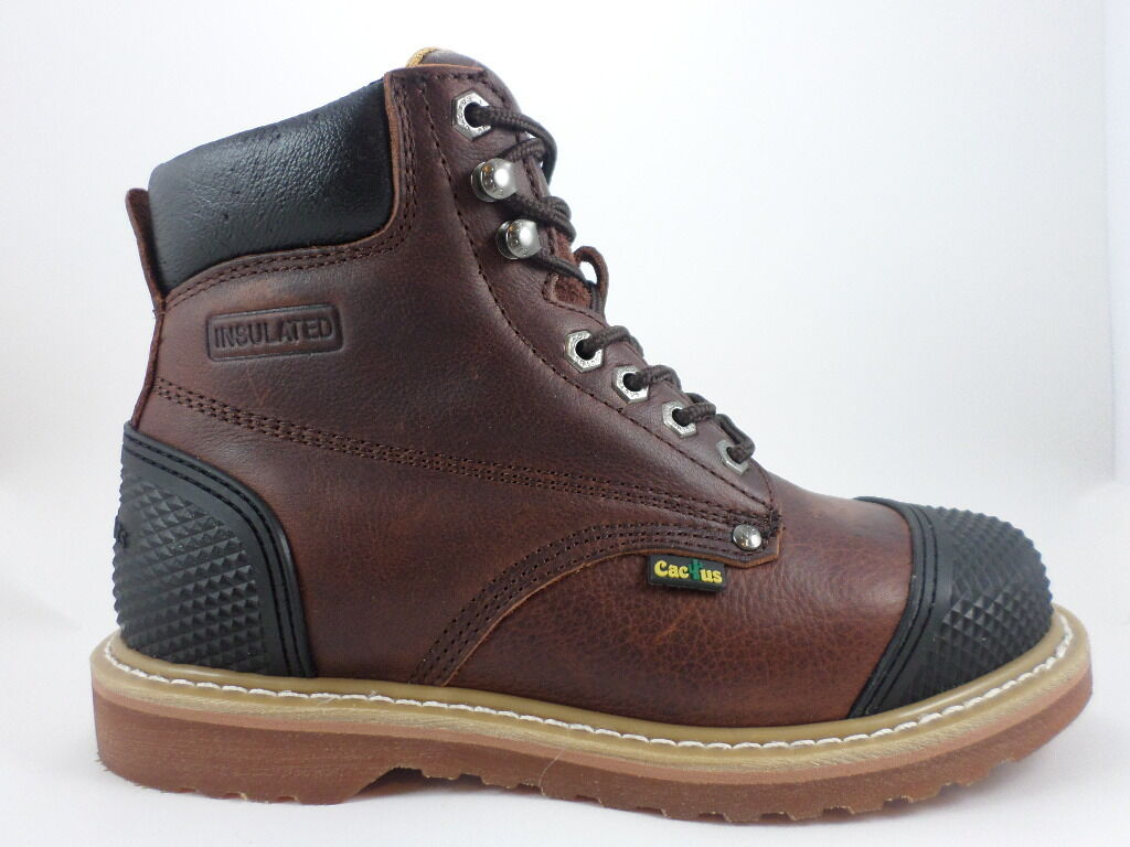 Cactus Work Boots 6  6278 Dk Brown Real Leather Upper Toe Back Guard New In Box