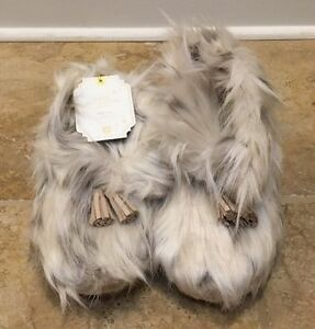 NEW Pottery Barn Teen SMALL Sequin Faux Fur Moccasin Slippers BERRY Size 3-4