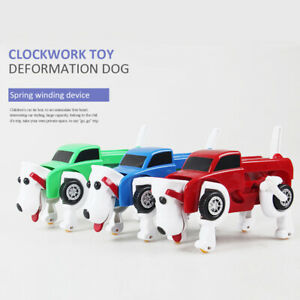 Clockwork-transforming-deformation-wind-up-mechanical-dog-car-toy-kid-xmas-robot