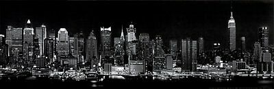 BW New York City NYC Midtown Skyline Panoramic Photo Print Poster 12x36 BIG