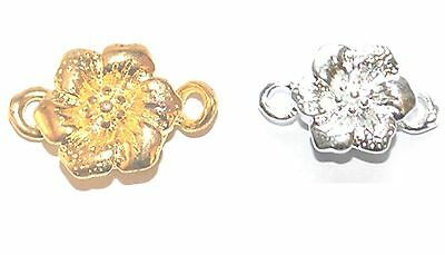 5 SILVER GOLD PLATED JEWELLERY CRAFT MAGNETIC FLOWER CLASPS CLASP FINDINGS