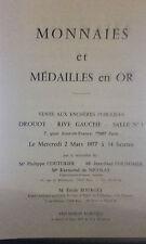 1977 Drouot Rive Gauche Salle N°1 Monnaies et Médailles en Or Mtre R de Nicolais