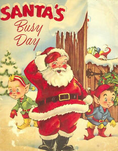 Retro Christmas.Details About Santa S Busy Day 8x10 Retro Vintage Christmas Fabric Block Buy 2 Get 1 Free