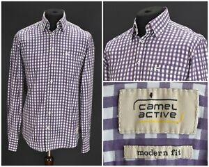 Mens-Camel-Active-Modern-Fit-Shirt-Long-Sleeve-Purple-Cotton-Check-Pocket-Size-L