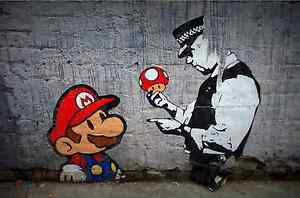 Banksy-Super-Mario-urban-Graffiti-Art-Canvas-Print
