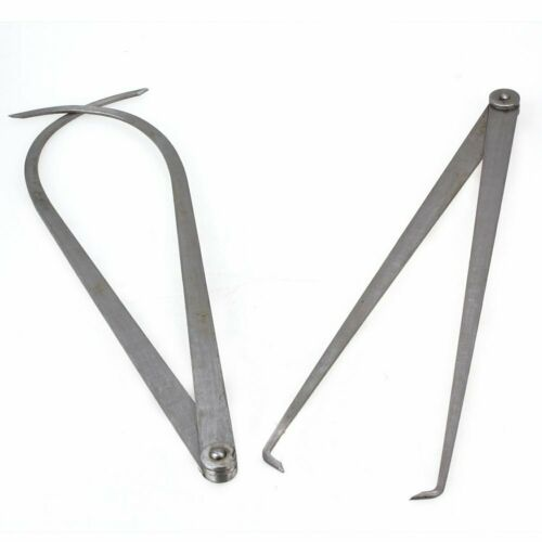 2PCS 345mm Inside Outside Calipers Firm Friction Joint Measurement Tool Silver