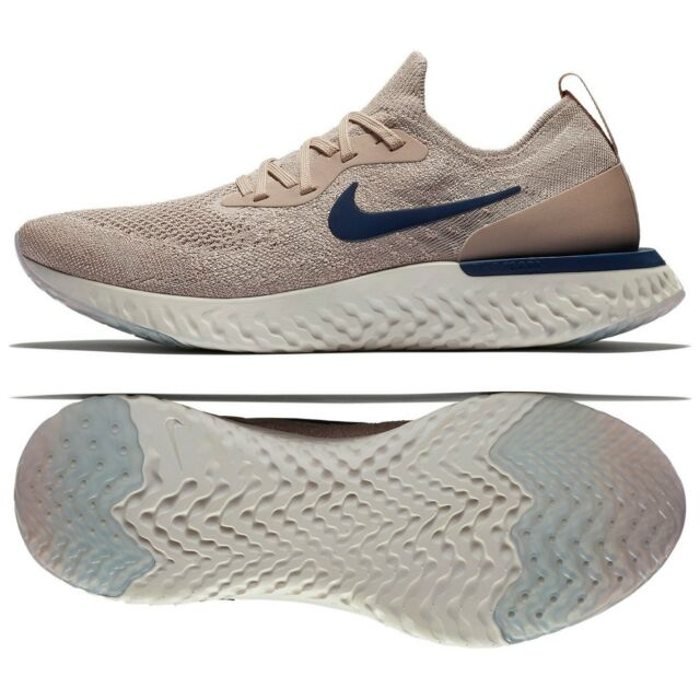 more photos 4b365 8da01 Nike Epic React Flyknit AQ0067-201 Diffused Taupe Blue Void Phantom Men s  Shoes