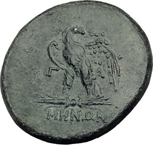 PERGAMON-in-MYSIA-200BC-RARE-Authentic-Ancient-Greek-Coin-Asclepius-Eagle-i65123