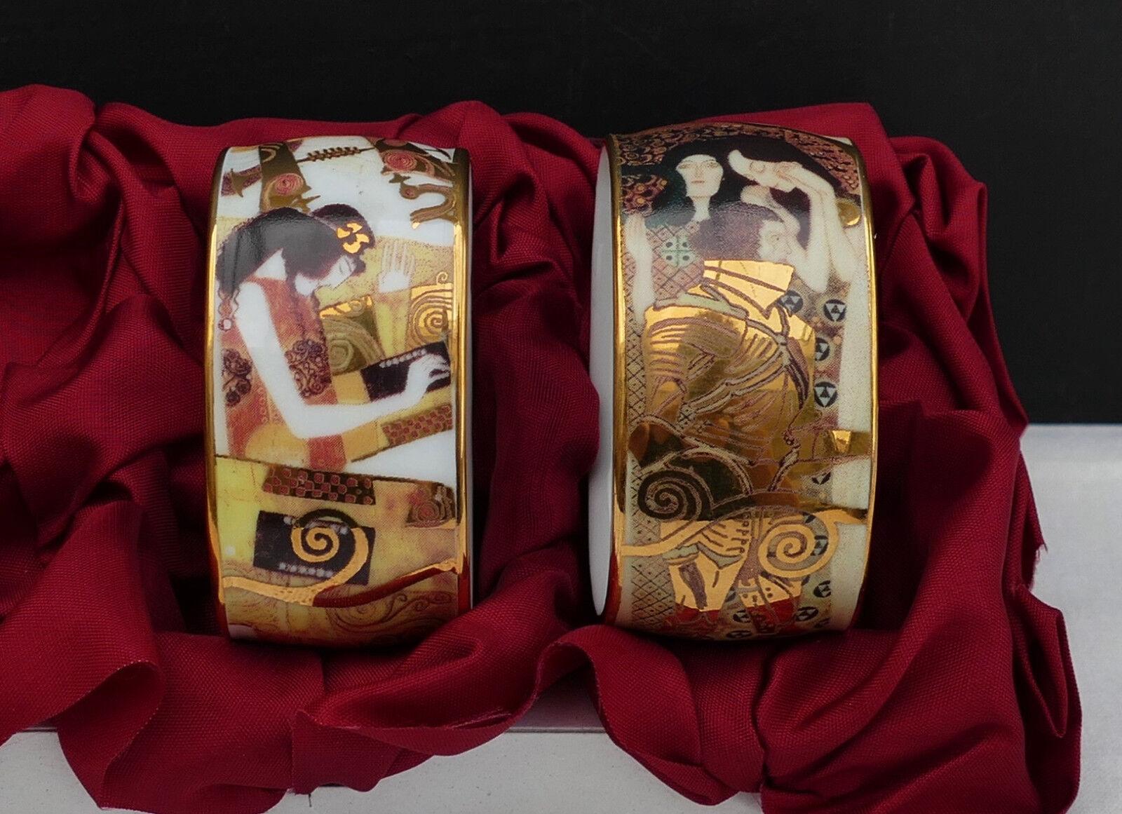 2 Gustav Klimt PORCELLANA TOVAGLIOLI anelli con un elegante motivo-senza imballaggio originale    N. 1