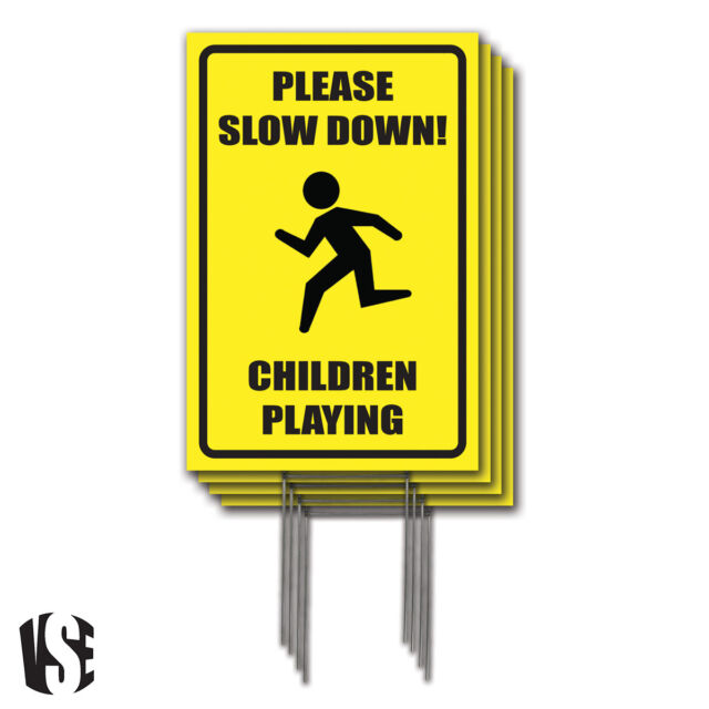 Slow Down Signs >> Visibility Signage 12x18 Please Slow Down Children Playing Lawn