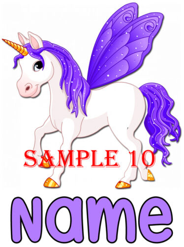 PERSONALISED UNICORN IRON ON TRANSFER FOR T-SHIRTS Etc Ref CTAN-06-10