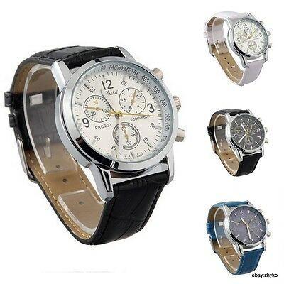 Men's Trending Simplicity Fashion PU Leather Bracelet Quartz Analog Wrist Watch