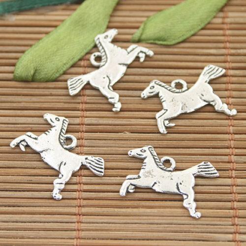 35pcs dark silver tone horse charms h3086