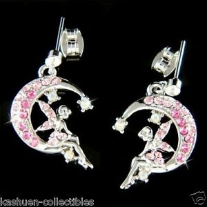 Pink-w-Swarovski-Crystal-Tinker-Bell-Tinkerbell-Crescent-Moon-fairy-Earrings-New